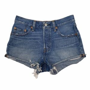 Levi's 501 Button Fly Raw Hem Jean Shorts  VGC